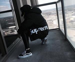 supreme, black, and vans image
