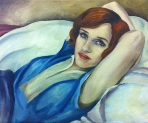 blue, painting, and red hair image