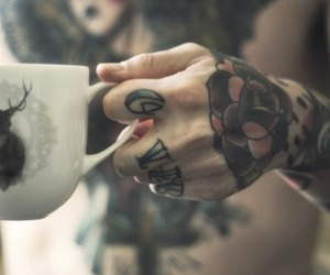 tattoo, boy, and cup image