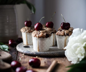muffin, cherry, and food image