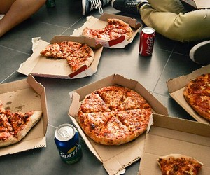 food, pizza, and soda image