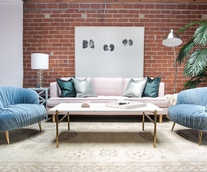 art, pale blue, and pink sofa image