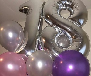 birthday, 18, and balloons image
