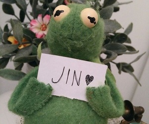 bts, jin, and kermit image