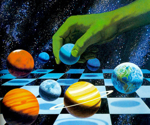 planet, chess, and space image