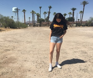 converse, girl, and palm trees image
