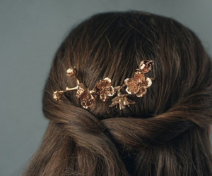 hair, gold, and hairstyle image