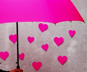 pink, umbrella, and heart image