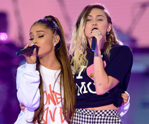 miley cyrus, ariana grande, and pray for manchester image