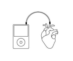 music, heart, and ipod image