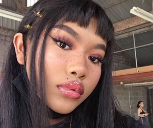 makeup, freckles, and girl image