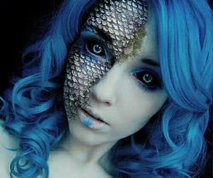 makeup, Halloween, and blue image
