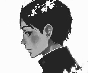 anime, flowers, and monochrome image
