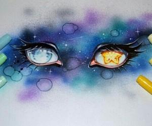 eyes, moon, and stars image