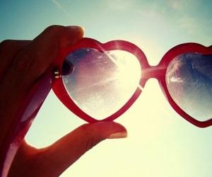 heart, sunglasses, and sky image