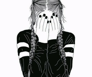 black and white, drawing, and fashion image