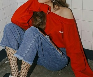 model, red, and ulzzang image