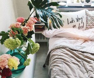 bedroom, home inspiration, and flowers image