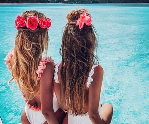 girl, summer, and flowers image