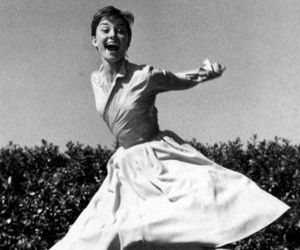 audrey hepburn, black and white, and happy image
