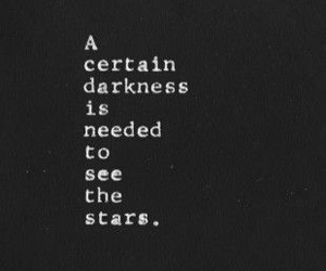 Darkness, stars, and quote image