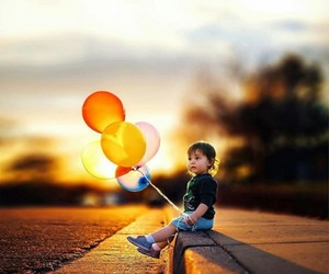 baby, balloon, and balloons image