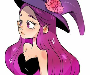 girl, illustration, and witch image