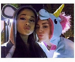 ariana grande, miley cyrus, and unicorn image