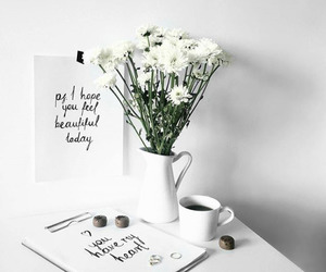flowers, white, and coffee image