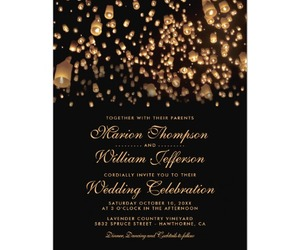 black, gold, and invitations image