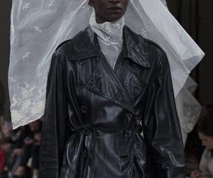 Ann Demeulemeester, black model, and runway image