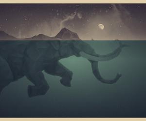 elephant, moon, and art image
