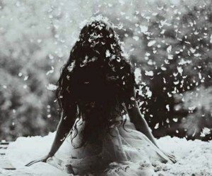 girl, black and white, and snow image
