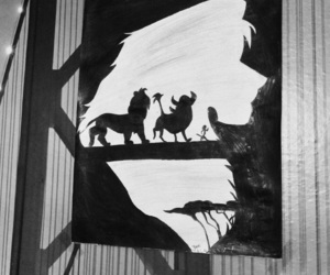 black and white, drawing, and hakuna matata image