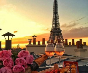 paris, flowers, and sunset image