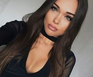 black dress, chest, and selfie image