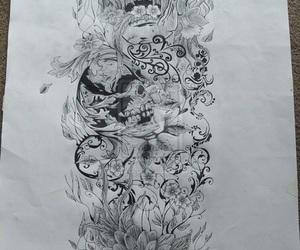skull, tattoo, and half sleeve tattoo image