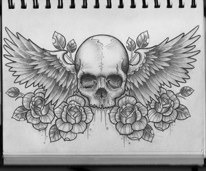 skull, art, and tatto image