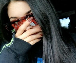 black, hair, and sunglasses image