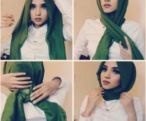 girl, islam, and green image