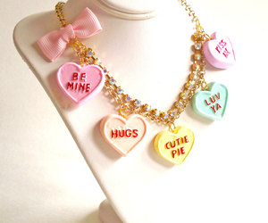 candy necklace, etsy, and heart image