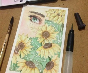 art, sunflower, and floral image