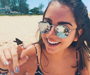 beach, butterfly, and girl image