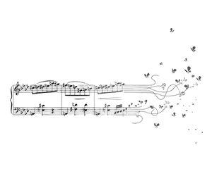 music, butterfly, and notes image