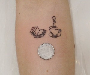 book, coffee, and tattoo image