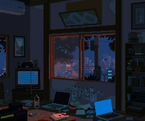 night, pixel art, and office image
