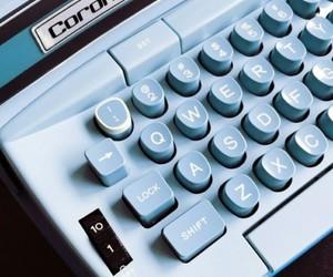 blue, vintage, and typewriter image