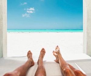 beach, couple, and sunshine image