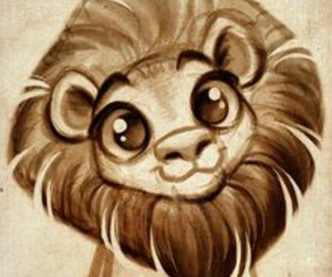 lion, cute, and drawing image