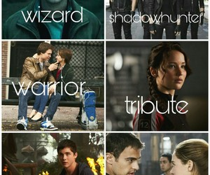 harry potter, the hunger games, and mortal instruments image